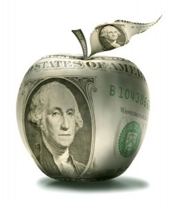 Financial Documents - Apple covered with dollar bill