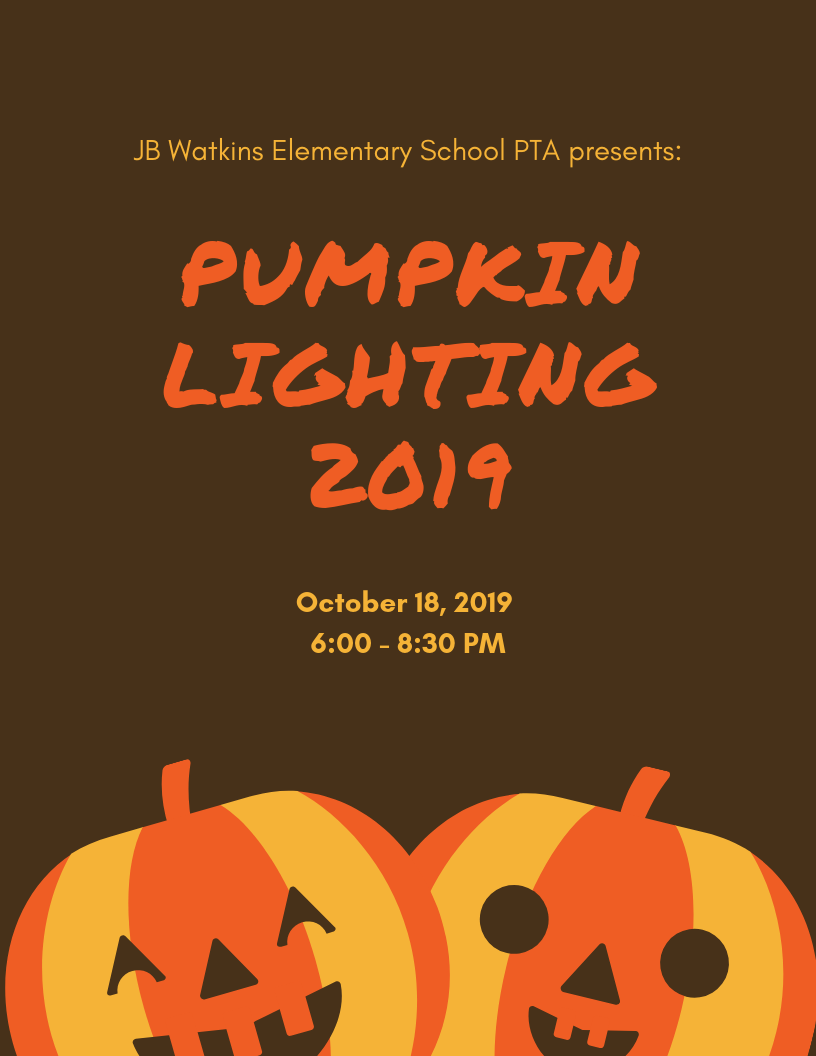 Flyer for JB Watkins Pumpkin Lighting