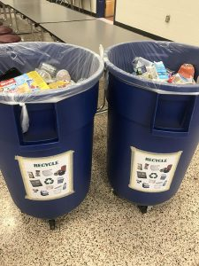 Recycling bins in the JB Watkins cafeteria